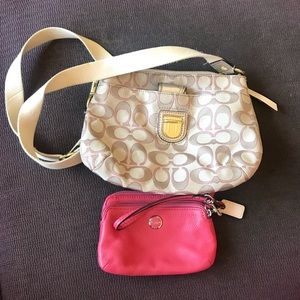 Authentic Coach crossbody and wristlet